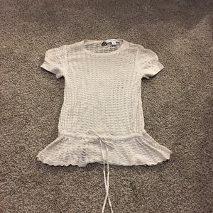 Banana republic silk cashmere crocheted peplum top